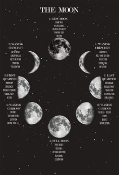Moon Phase Poster Lunar Phases and Meanings Space Poster Night Sky Print Witch Art Celestial Wiccan Spells, Magick, Green Witchcraft, Magic Spells, Geometric Tatto, Ciel Nocturne, New Moon Rituals, Lunar Phase, Witch Art