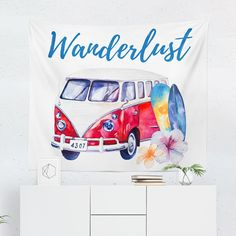 Hippie Decor Tapestry Mini Van Ornaments Print Wall Hanging Decor 80Wx60L Inches