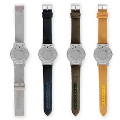 From left: The Bradley in stainless steel, silver blue, olive green and mustard yellow