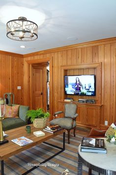 Tavern Room-2015 Southern Living Idea House, I love the table design...this makes pine paneling want to make a comeback !