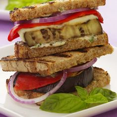 Grilled Eggplant and Basil Goat Cheese Panini Recipe