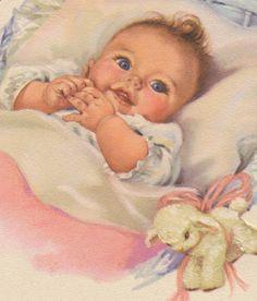 vintage baby paintings -