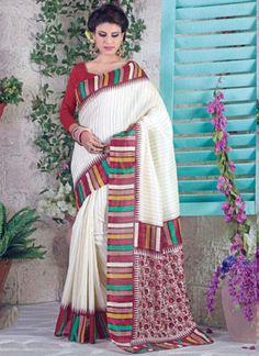 Deserving White Bhagalpuri Silk Casual Wear Printed Saree - Luxefashion Internet Inc