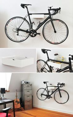 Bicycle wall mount made of wood - creative and practical - Fahrrad Hanging Bike Rack, Bicycle Hanger, Indoor Bike Rack, Indoor Bike Storage, Bicycle Stand, Bicycle Storage, Rack Velo, Home Office Design, House Design