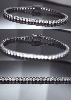 Diamond 10976: Black 14K Gold Over Sterling Silver Round Lab Diamond Tennis Bracelet 3.00Ct. -> BUY IT NOW ONLY: $35.97 on eBay!