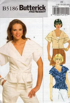 Butterick 5186 Big Cape Collar Wrap One button Blouse Cropped New 2008 Free Us Ship Sewing Pattern SZ 16 18 20 22 plus size Bust 38 40 42 44 by LanetzLiving on Etsy