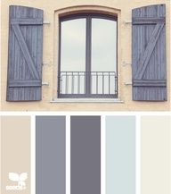 Window Tones: Tan, Elephant Grey, Charcoal Gray, Sky Blue, Creamy White