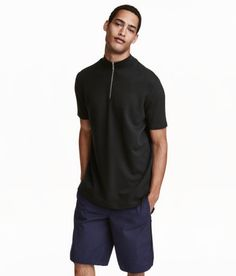 Mock Turtleneck T-shirt | Black | Men | H&M US
