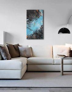 Pittura astratta: Riflesso nel fiume Blu e nero Originale