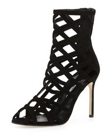Manolo Blahnik  SUEDE CAGE ANKLE BOOT