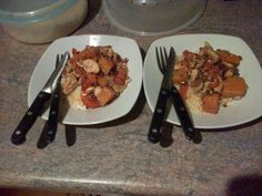 Chicken stir fry and couscous.