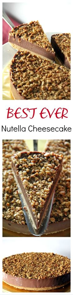 Nutella Cheesecake - easy no-bake cheesecake loaded with Nutella and hazelnut. Creamy, rich, the best Nutella Cheesecake recipe ever, by Nigella Lawson. No Bake Desserts, Just Desserts, Delicious Desserts, Dessert Recipes, Yummy Food, Desserts Nutella, Nutella Cake, Baking Desserts, Delicious Chocolate