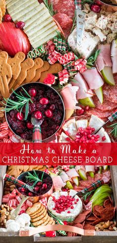 How to Make a Christmas Cheese Board Freutcake How to make the ultimate Christmas Cheese board including a shopping list and step by step instructions for assembling a beautiful cheese board. Christmas Cheese, Christmas Desserts, Christmas Eve, Retro Christmas, Christmas Christmas, Simple Christmas, Holiday Fun, Festive, New Year's Desserts