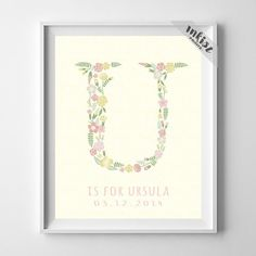 Initial 'U' Personalized Print. Prices from $9.95. Available at www.InkistPrints.com - #inkistprints #initialart #initial #print #christmasgift #childrenroom #nurserydecor #nurseryart #nursery #mothersdaygift #giftidea #giftformom #homedecor #personalizedgift #customizedgift #personalized #customized #babyroom #babygirl