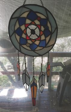 Stained glass dream catcher made by Jessica O