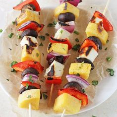 Sweet potato halloumi tartines foodgawker recipes pinterest polenta veggie halloumi kabobs foodgawker forumfinder Images