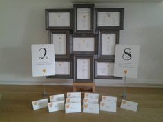 Multi Frame table plan,  Table numbers and place cards. Table cards from £3.  Add your own frame. Many designs and colours available. See www.whiteroseinvitations.co.uk  for details or follow me on facebook.com /SueatWhiteRoseInvitations