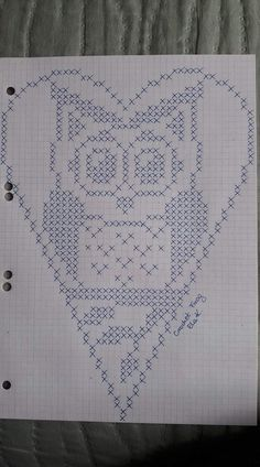 Crochet Heart Stitch Punto Croce Ideas For 2019 Filet Crochet, Crochet Chart, Crochet Doilies, Crochet Top, Cross Stitch Owl, Cross Stitch Animals, Cross Stitching, Cross Stitch Patterns, Knitting Charts
