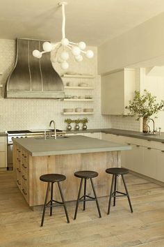 Reclaimed Wood Kitchen Island with Concrete Countertop - Transitional - Kitchen