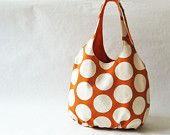 Tote bag - orange with big white polka dots