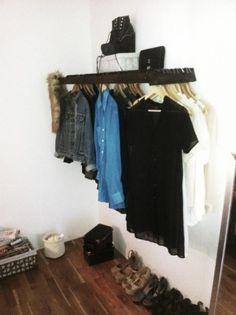 DIY - Turn a small ladder into a clothing rack and shelf! Genius idea!!