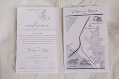 Torn Edge, Blue Crest Wedding Invitations, Welcome Note, Wedding Map, Wedding watercolor