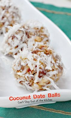 Delicious holiday treats are made in a large skillet and rolled in coconut. The filling has dates, pecans, and Rice Krispies.