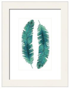 Watercolor Feathers Print, Fine Art Print, Nature Wall Art, Turquoise Feathers, Giclee Print, Native Feather Art, Bohemian Decor