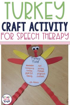 Turkey craft activities for speech and language therapy. Includes templates and instructions, plus written activities for articulation, describing, and more! Speech Therapy Themes, Speech Language Pathology, Speech And Language, Articulation Therapy, Articulation Activities, Language Activities, Social Skills Activities, Writing Activities, Craft Activities
