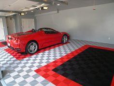 Swisstrax garage flooring, Ribtrax tile - pearl silver, racing red, jet black