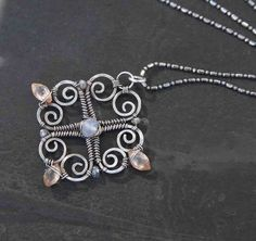 Bedazzled Sterling Silver Flower Pendant Necklace by AlaskaFirefly