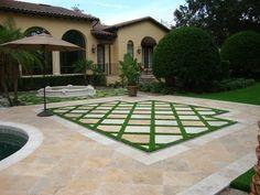 Tiled Turf & Pavers-Landscape Design Backyard and landscape design, featuring tiled artificial grass Small Backyard Patio, Backyard Pavers, Backyard Ideas, Pool Ideas, Garden Floor, Outdoor Flooring, Flooring Ideas, Outdoor Blinds, Artificial Turf