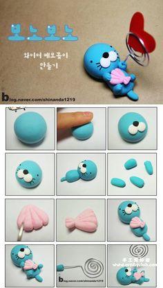Otter photo holder, polymer clay idea