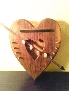 Handmade beautiful door harp/door chime/wood harp/harp/wood heart/heart/wood heart harp on Etsy, $30.00