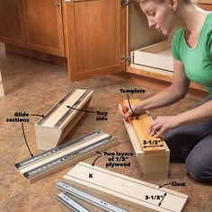 Kitchen Cabinet Storage Solutions: DIY Pull Out Shelves Kitchen Sink Storage, Cheap Kitchen Cabinets, Under Sink Storage, Kitchen Drawers, Cabinet Drawers, Cupboard, Diy Pull Out Shelves, Handyman Projects, Woodworking Projects