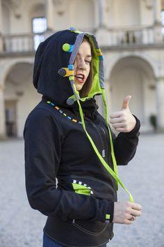 Mikina s velikááánskou kapucí - bavlna / Zboží prodejce Jane Art Rain Jacket, Windbreaker, Couture, Jackets, Fashion, Down Jackets, Moda, Fashion Styles, Haute Couture
