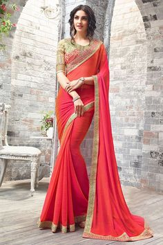 Mesmerize the world around you with this wonderful #Bollywood styled chiffon #saree Buy Saree online - http://www.aishwaryadesignstudio.com/shaded-orange-pink-two-tone-chiffon-fabric