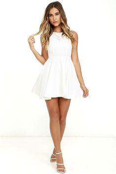 17afa40b40 Gal About Town White Skater Dress