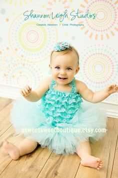 Sweet Aqua Couture Tutu Set Custom Made by ASweetSweetBoutique