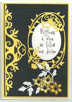 Yellow diecuts on black background by Doreen Worth