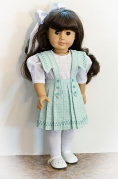 THIS LISTING HAS NOW BEEN RESERVED --      This listing is made from the newest Keepers Dolly Duds pattern. The Victorian skirt is made from an aqua