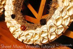 Occasionally Crafty: Sheet Music Wreath: A Tutorial