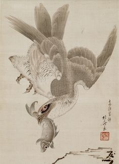 Detail. Hawk and Fish. Hanging scroll. Artist: Katsushika Hokusai 葛飾北斎 (1760 - 1849). Edo period. Ink and color on silk mounted on paper. Freer