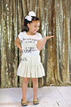 """Inspirational """"She who leaves a trail of GLITTER is never forgotten"""" Embroidered Bodysuit or T-shirt - Girls - Gift - Gold - Birthday -Party by InspiredFlair on Etsy"""