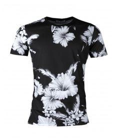 t-shirt col rond manches courtes imprimé à fleurs homme guess 0c20bc6e295b