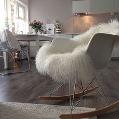 Nice Eames Style RAR Molded White Plastic Rocking Chair With Steel Eiffel Legs  This Mid Century
