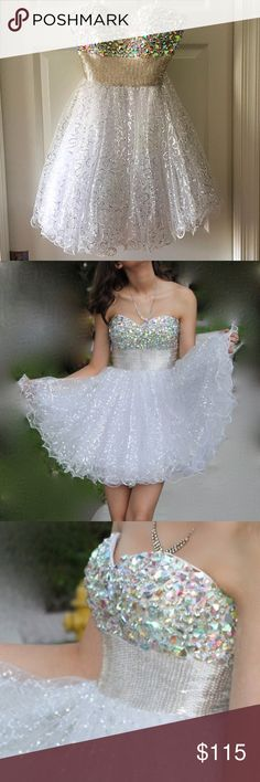 {La Femme} Strapless White Prom Dress MSRP $400 This dress will change your life, it changed mine.  Worn once, gorgeous beading on bodice! Would look beautiful at prom or homecoming!  ✨Best in Dresses and Skirts Host Pick 12/15, 2016 Trends Host Pick 1/1✨ La Femme Dresses Prom