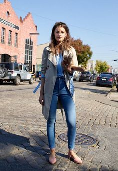 Easy cool denim outfit with a trench coat