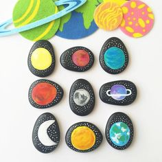 Gorgeous DIY Space Themed Story Stones. Fun for encouraging imaginative play and storytelling during a space unit!