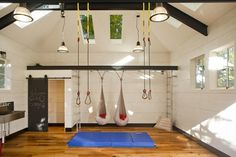 Baroque marcy home gym in Kids Industrial with Outdoor Tiki Bar next to Ikea Living Room alongside Boys Room Paint Ideas and Shed Bar Garage Playroom, Home Gym Garage, At Home Gym, Kids Garage, Car Garage, Garage Party, Garage Studio, Basement Gym, Design Garage